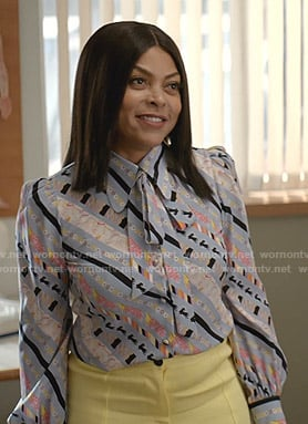 Cookie's blue printed tie neck blouse on Empire