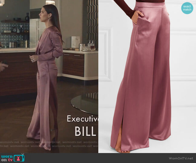 Silk-Charmeuse Wide-Leg Pants by Cushnie worn by Gigi Mendoza (Roselyn Sánchez) on Grand Hotel
