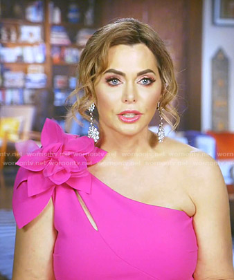 D'Andra's pink flower one-shoulder dress on The Real Housewives of Dallas