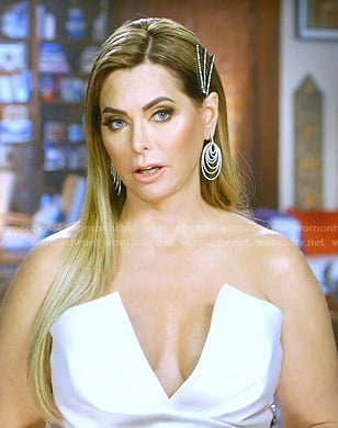 D'Andra's white v-neck strapless jumpsuit on The Real Housewives of Dallas