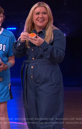 Kelly's denim tie waist jumpsuit on The Kelly Clarkson Show