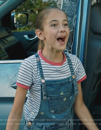 Anna's heart denim overalls on American Housewife