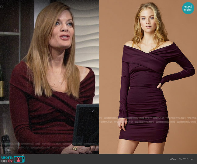 Diane von Furstenberg Off Shoulder Ruched Mini Dress worn by Phyllis Summers (Michelle Stafford) on The Young & the Restless