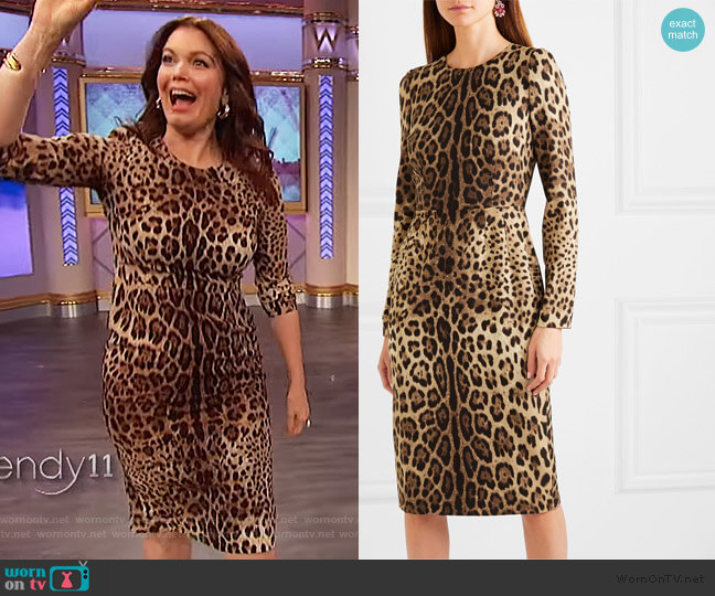 Leopard-print silk-blend midi dress by Dolce & Gabbana worn by Bellamy Young on The Wendy Williams Show worn by Wendy Williams  on The Wendy Williams Show