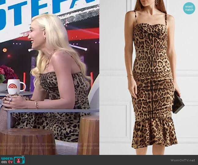 Ruched Leopard-Print Cady Midi Dress by Dolce & Gabbana worn by Gwen Stefani on Today