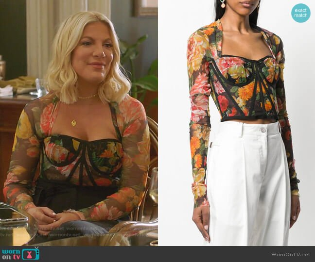 Floral Print Bustier Top by Dolce & Gabbana worn by Tori Spelling  on BH90210