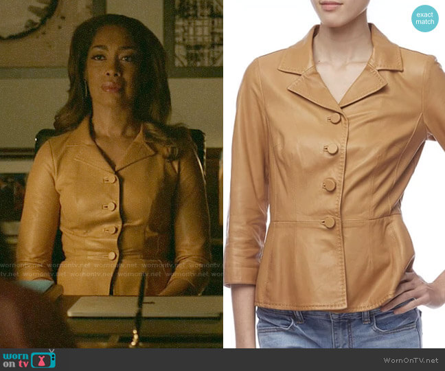 Dolce & Gabbana Light Brown Leather Peplum Jacket worn by Jessica Pearson (Gina Torres) on Pearson