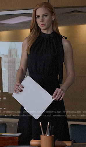 Donna's black bow neck dress on Suits