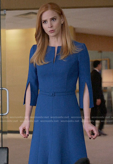 Donna's blue split sleeve dress on Suits