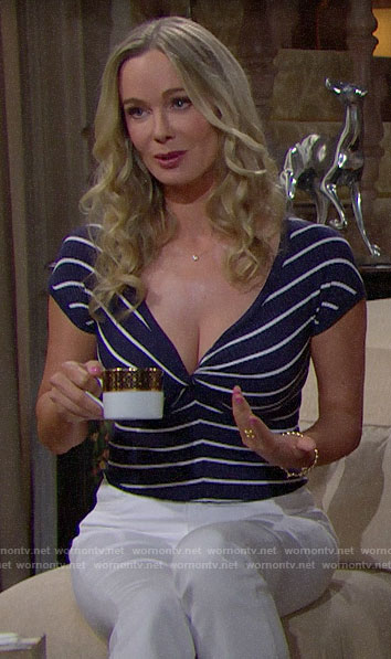 Donna's striped twist bust top on The Bold and the Beautiful