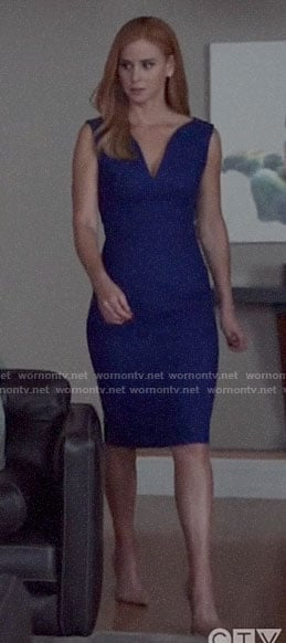 Donna's blue v-neck sleeveless sheath dress on Suits
