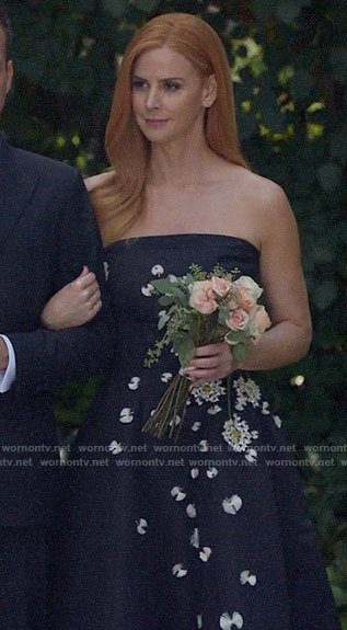 Donna's floral embellished strapless dress on Suits