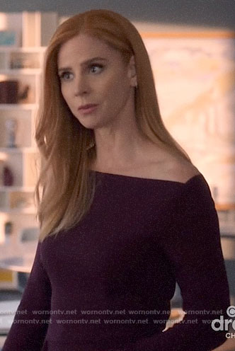 Donna's dark purple off-shoulder dress on Suits