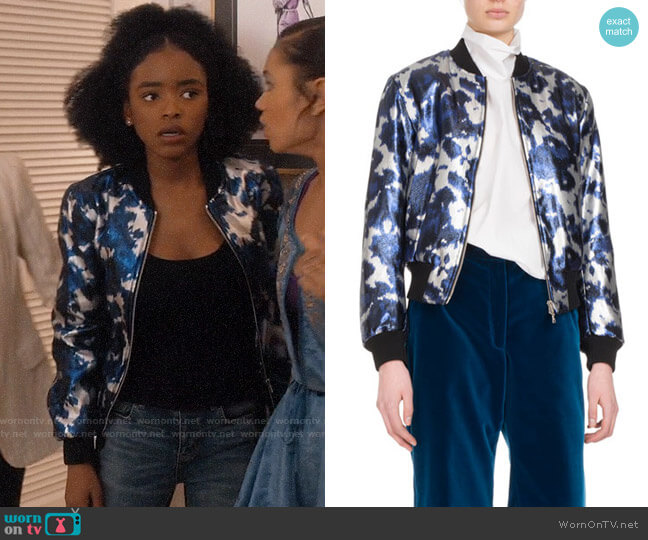 Dries van Noten Villa Satin Bomber Jacket worn by Zora Greenleaf (Lovie Simone) on Greenleaf