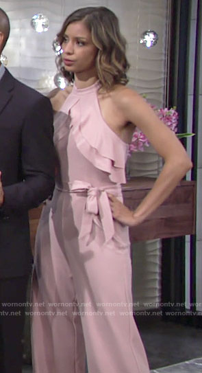 Elena's blush pink halter neck jumpsuit on The Young and the Restless