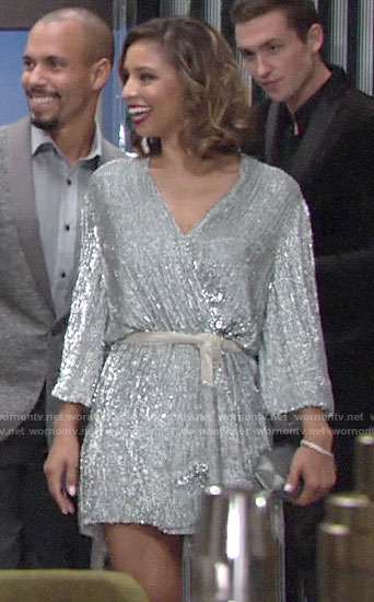 Elena's silver wrap dress on The Young and the Restless