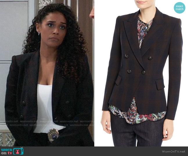 Elie Tahari Jezebel Double-Breasted Plaid Blazer worn by Jordan Ashford (Briana Nicole Henry) on General Hospital