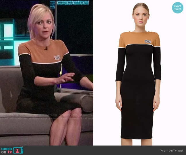 Elisabetta Franchi Two-colour knit dress worn by Anna Faris on A Little Late with Lilly Singh