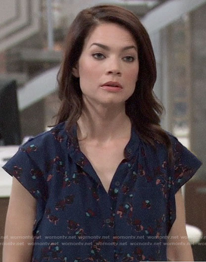 Elizabeth's blue printed top on General Hospital