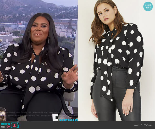 Tie Neck Blouse by Eloquii worn by Nina Parker  on E! News