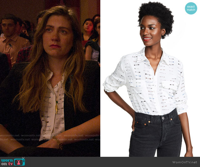 Equipment Date Stamp Signature Silk Shirt worn by McAfee (Laura Dreyfuss) on The Politician