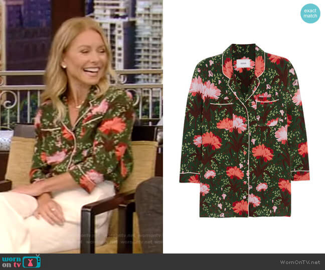 Ray Top by Erdem worn by Kelly Ripa  on Live with Kelly & Ryan