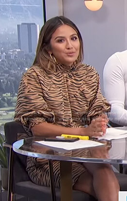 Erin's beige tiger print top and shorts on E! News Daily Pop