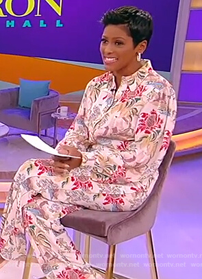 Tamron Hall's floral blouse and pants on Tamron Hall Show