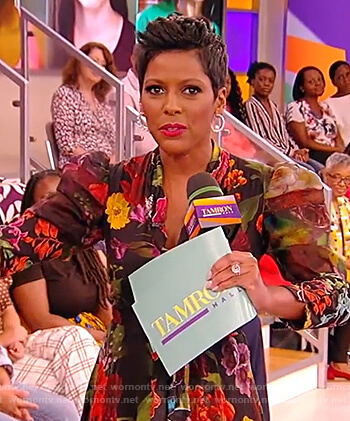 Tamron's black floral tie dress on the Tamron Hall Show