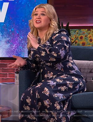 Kelly's floral ruched dress on The Kelly Clarkson Show