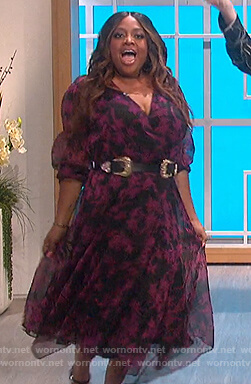 Sherrie Shepherd's black floral wrap dress on The Talk