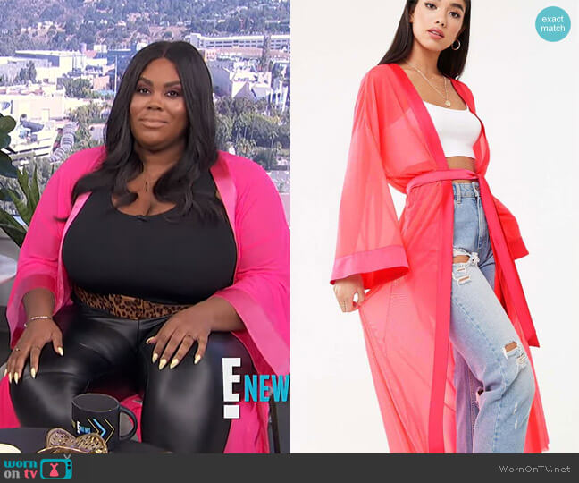 Sheer Mesh Kimono Jacket by Forever 21 worn by Nina Parker  on E! News