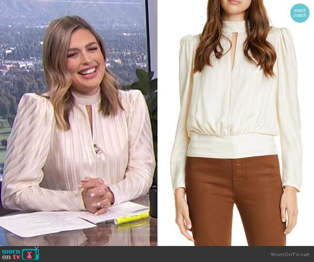 Jacquard Stripe Keyhole Silk Long Sleeve Blouse by Frame worn by Carissa Loethen Culiner  on E! News