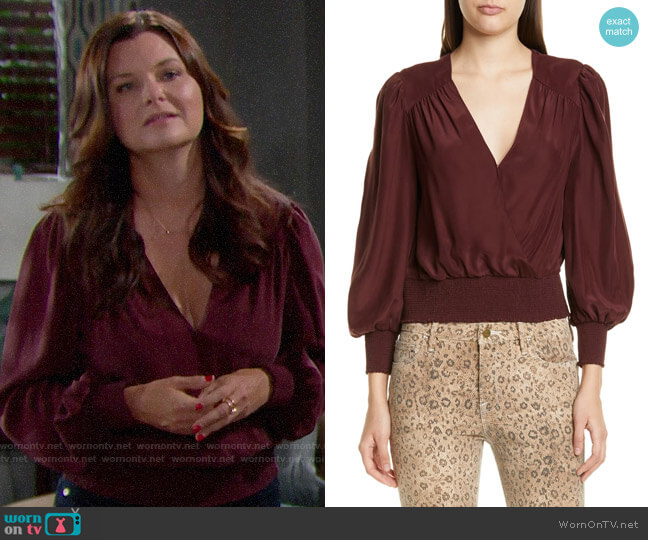 Frame Smocked Hem Surplice Silk Top worn by Katie Logan (Heather Tom) on The Bold & the Beautiful