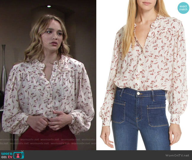 Voluminous Floral Print Top by Frame worn by Summer Newman (Hunter King) on The Young & the Restless
