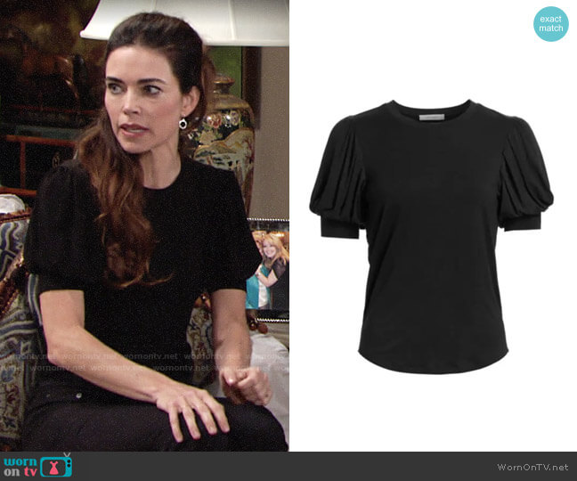 Frame Balloon Sleeve Tee worn by Victoria Newman (Amelia Heinle) on The Young & the Restless