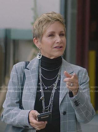 Gabrielle's grey plaid coat on BH90210