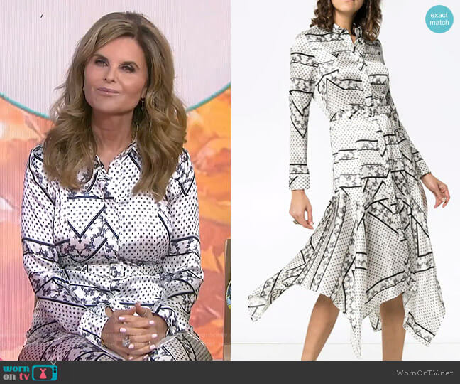 Blakely Scarf-Print Silk Dress by Ganni worn by Maria Shriver  on Today
