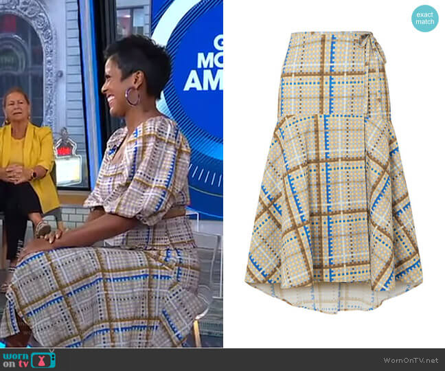 Tiered Checked Cotton-Poplin Wrap Skirt by Ganni worn by Tamron Hall on GMA