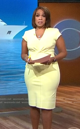Gayle's yellow twist front dress on CBS This Morning