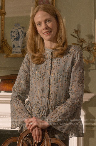 Gemma's blue floral blouse with ruffles on Four Weddings and a Funeral