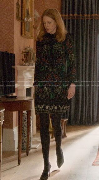 Gemma's black printed dress with ruffles on Four Weddings and a Funeral