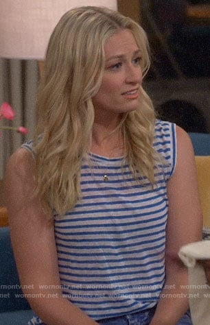Gemma's blue striped sleeveless top on The Neighborhood