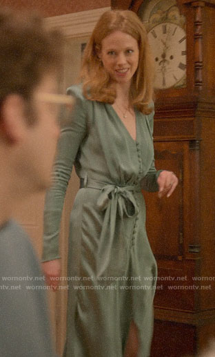 Gemma's green silky button front dress on Four Weddings and a Funeral