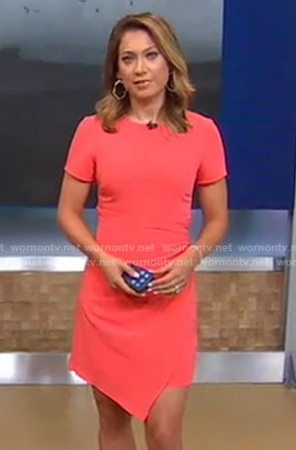 Ginger's coral asymmetric hem dress on Good Morning America