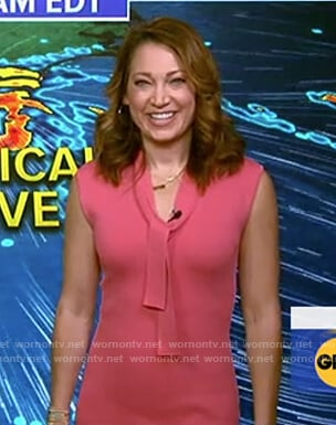 Ginger's pink tie neck dress on Good Morning America