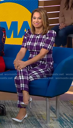 Ginger's purple plaid top and pants on Good Morning America