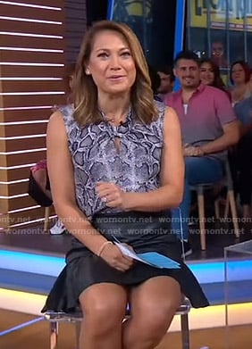 Ginger's snake print top and leather mini skirt on Good Morning America