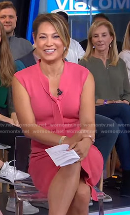 Ginger's pink tie neck dress on Good Morning America
