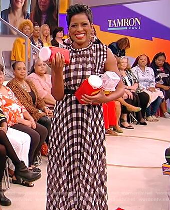 Tamron's sleeveless check dress on the Tamron Hall Show